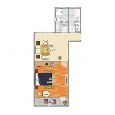 清涧二街坊1室1厅1卫1厨60.00㎡户型图
