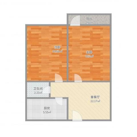后陈家楼2室1厅1卫1厨71.00㎡户型图