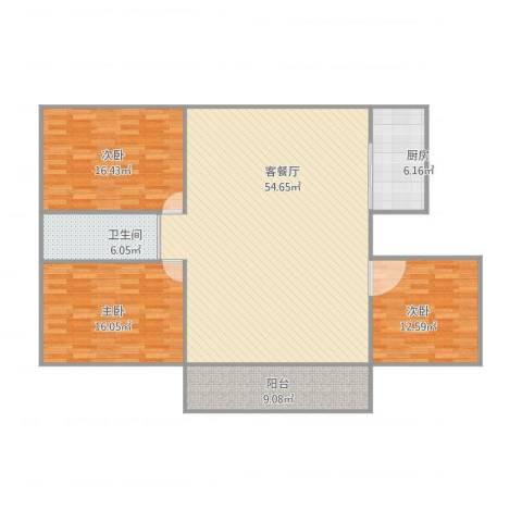 新顾村大家园d3室1厅1卫1厨160.00㎡户型图
