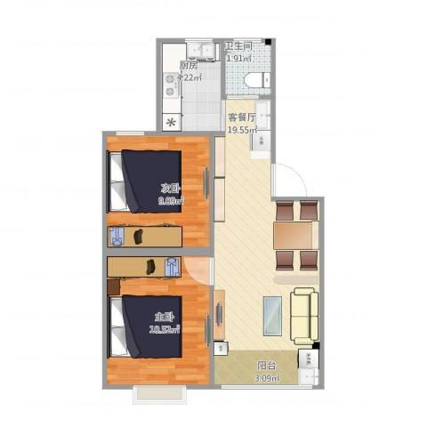 绿地御桥苑2室1厅1卫1厨62.00㎡户型图