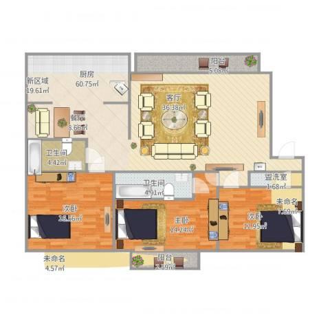 东方花园3室1厅2卫1厨165.00㎡户型图
