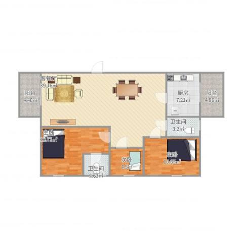 湖景花园10栋3023室1厅2卫1厨121.00㎡户型图