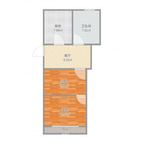 海桐小区2室1厅1卫1厨64.00㎡户型图