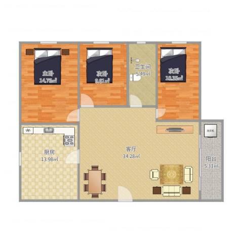 湖景花园26栋02户型3室1厅1卫1厨125.00㎡户型图
