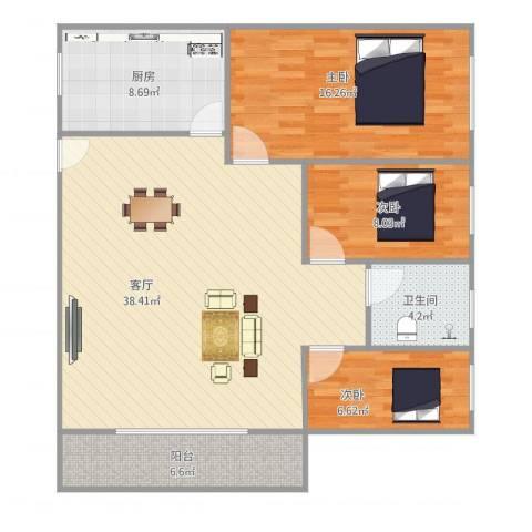 湖景花园3室1厅1卫1厨119.00㎡户型图