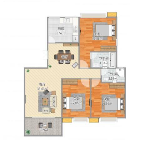 西充阳光新城3室1厅2卫1厨132.00㎡户型图
