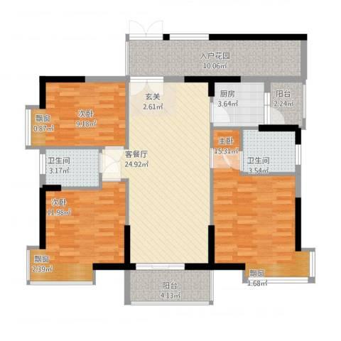 翠堤湾3室1厅2卫1厨125.00㎡户型图