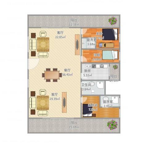 盈兴阁1栋1012室3厅1卫1厨160.00㎡户型图