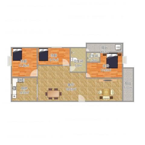 湖景花园22栋02户型3室1厅2卫1厨131.00㎡户型图