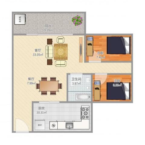 盈兴阁3栋3012室1厅1卫1厨95.00㎡户型图