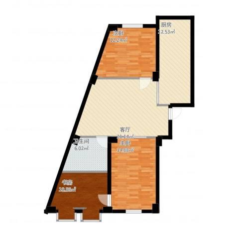 实华・新兴佳园3室1厅1卫1厨109.00㎡户型图