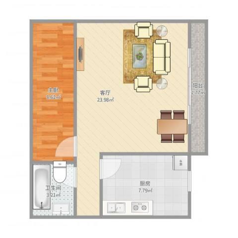 布鲁明顿广场1室1厅1卫1厨63.00㎡户型图