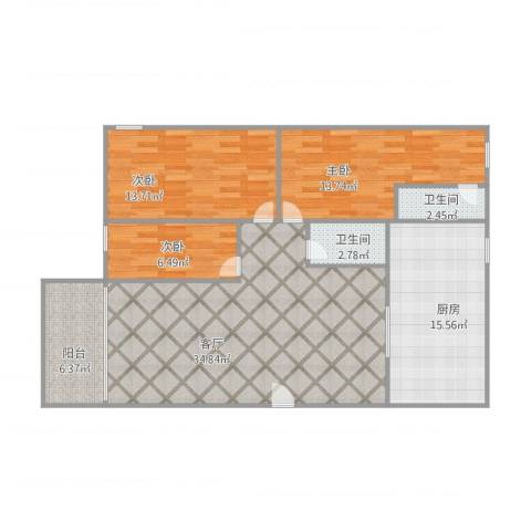 华景苑3室1厅2卫1厨129.00㎡户型图