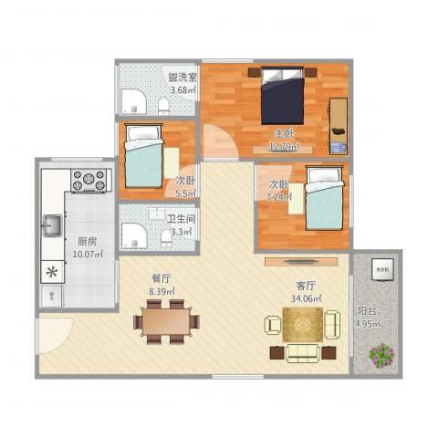盈兴阁3栋4023室2厅1卫1厨110.00㎡户型图