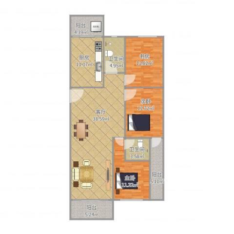 湖景花园24栋02户型3室1厅2卫1厨148.00㎡户型图
