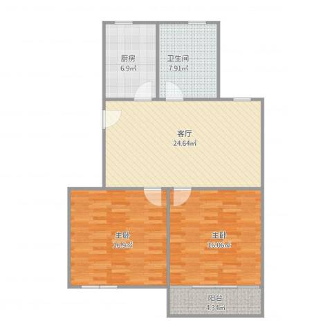 奉浦二村2南房2室1厅1卫1厨102.00㎡户型图