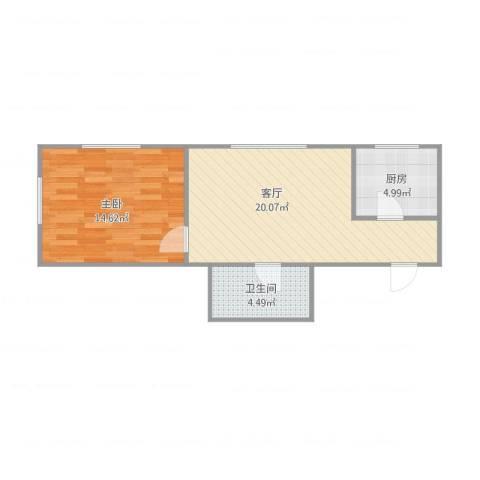 小园新厦2-1-17011室1厅1卫1厨59.00㎡户型图