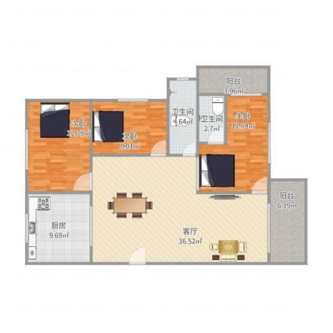 湖景花园3室1厅2卫1厨131.00㎡户型图