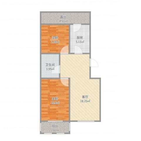 双街新城2-2-6012室1厅1卫1厨73.00㎡户型图