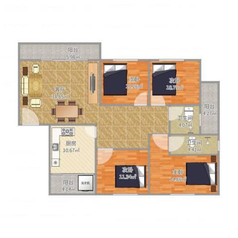 东明花园四期5栋01户型4室1厅2卫1厨161.00㎡户型图