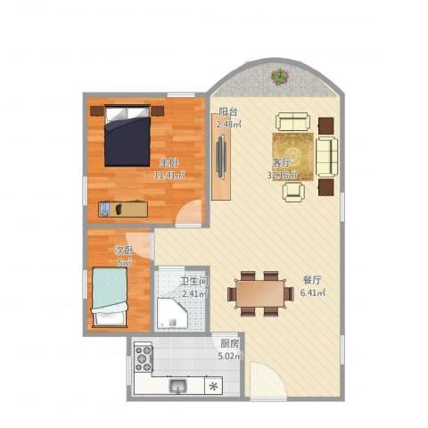 阳光花地朗月阁3栋5012室1厅1卫1厨75.00㎡户型图
