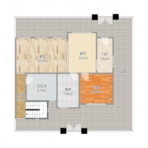 华泽-花园洋房-底跃1室2厅1卫1厨184.00㎡户型图