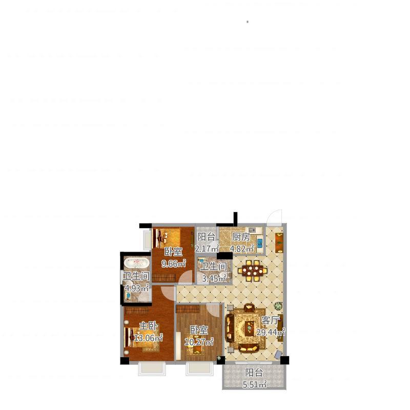 北流户型(2栋K8(1.2.3层)