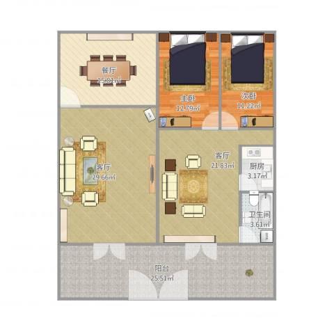 梅园大厦2室3厅1卫1厨131.45㎡户型图