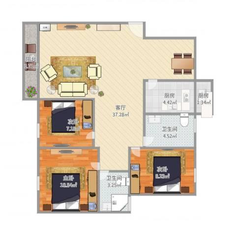 东力新村3室1厅2卫2厨108.00㎡户型图