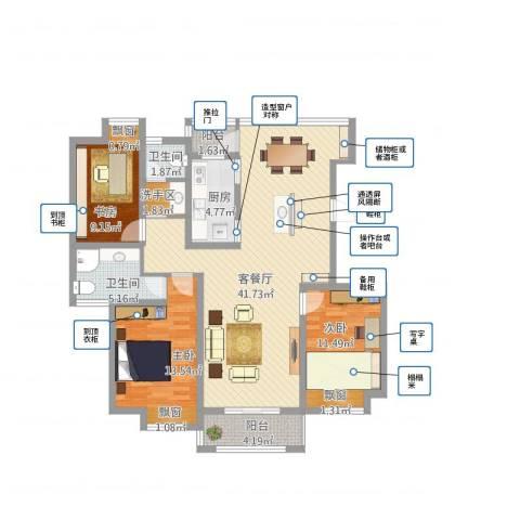 绿地世纪城3室1厅2卫1厨138.00㎡户型图