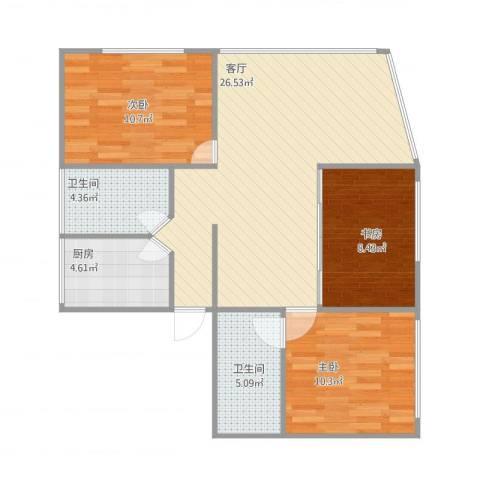 港天大厦A24043室1厅2卫1厨95.00㎡户型图