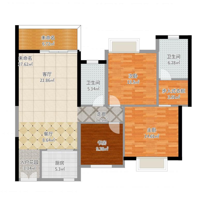 现代简约99方A1户型三室两厅-k