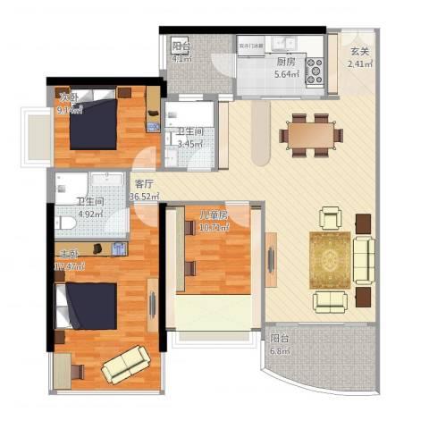 中怡城市花园3室1厅2卫1厨136.00㎡户型图