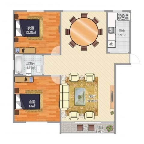 绿地望海新都(绿地领御)2室1厅1卫1厨86.73㎡户型图