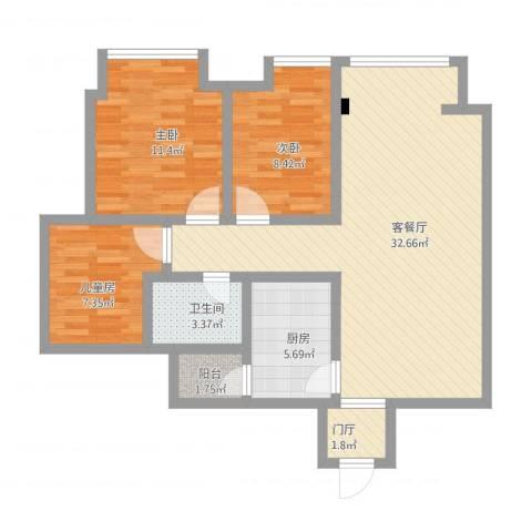 新浪业主张先生3室1厅1卫1厨106.00㎡户型图