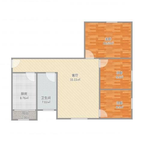 怡乐居3室1厅1卫1厨90.00㎡户型图