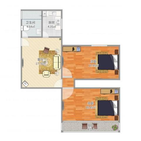 真北三街坊2室1厅1卫1厨88.00㎡户型图