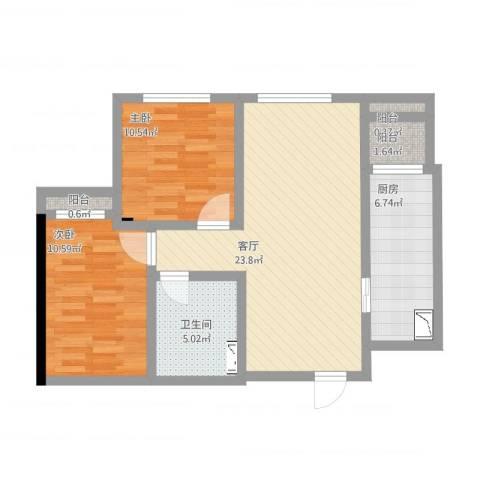 「大连天地」悦龙居2室1厅1卫1厨86.00㎡户型图