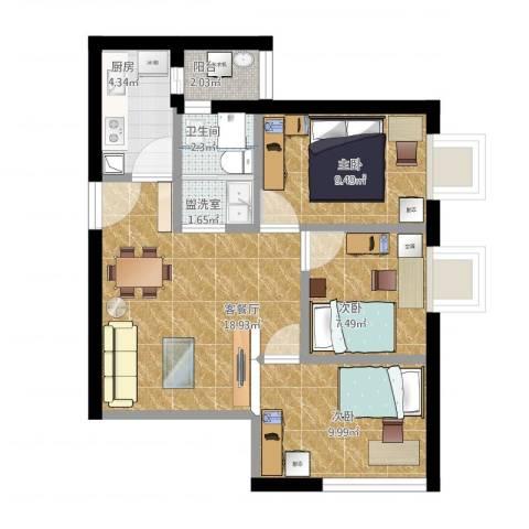 枫丹雅筑3室2厅1卫1厨84.00㎡户型图