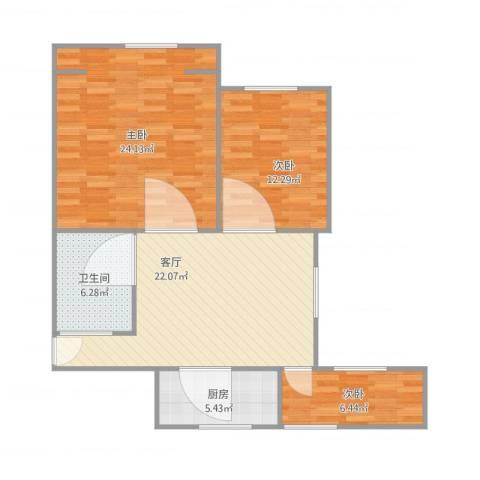 公园30003室1厅1卫1厨103.00㎡户型图