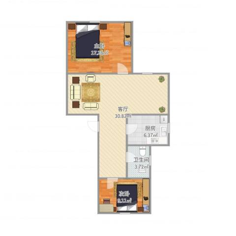 佳虹小区2室1厅1卫1厨90.00㎡户型图