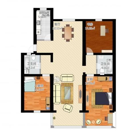 明珠小区3室1厅2卫1厨160.00㎡户型图
