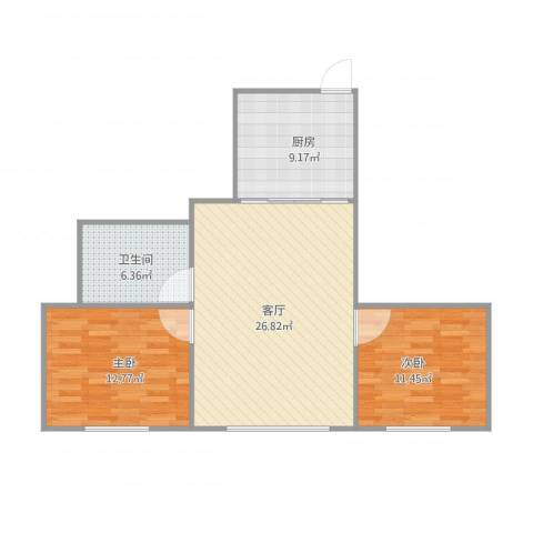 海上国际花园二期2室1厅1卫1厨89.00㎡户型图