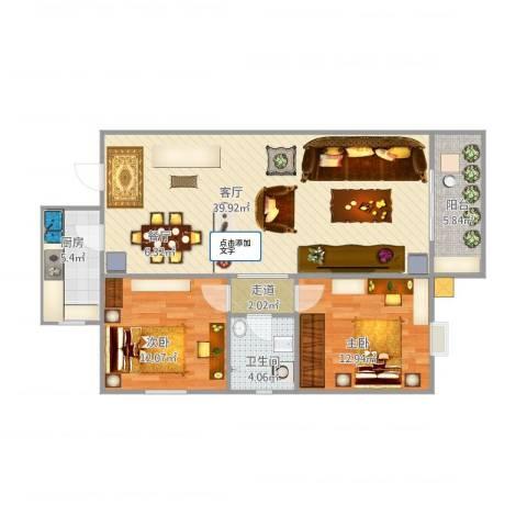 新城绿园2室1厅1卫1厨87.80㎡户型图