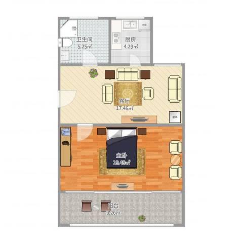 万荣小区1室1厅1卫1厨75.00㎡户型图