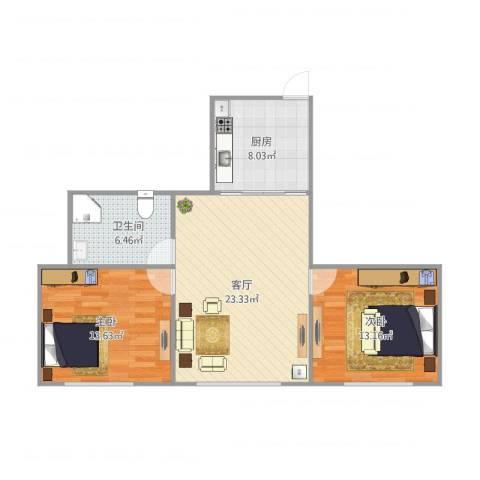 海上国际花园二期2室1厅1卫1厨86.00㎡户型图