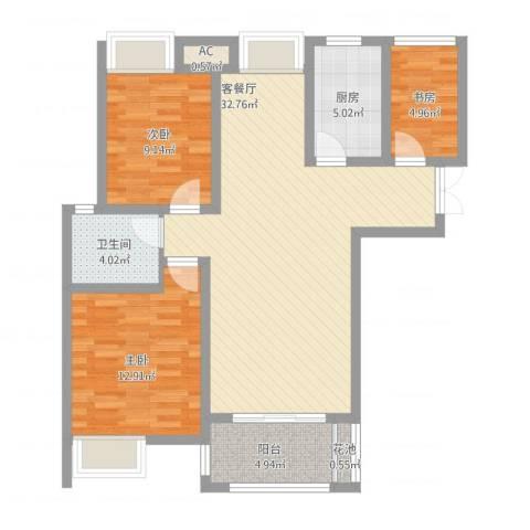 亚泰梧桐世家3室1厅1卫1厨109.00㎡户型图