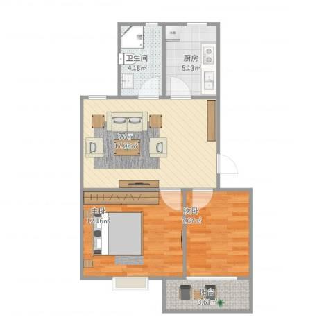 金叶花园2室1厅1卫1厨68.00㎡户型图