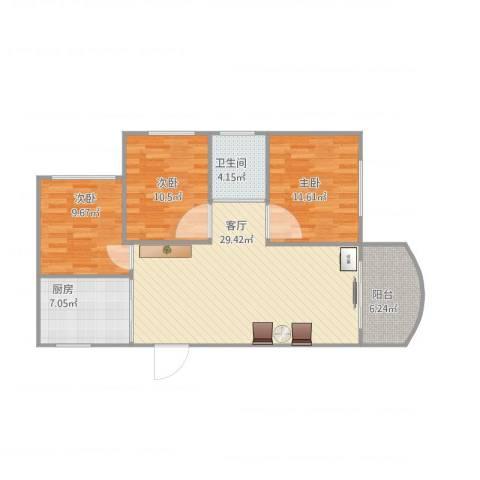联丰商城五期3室1厅1卫1厨105.00㎡户型图