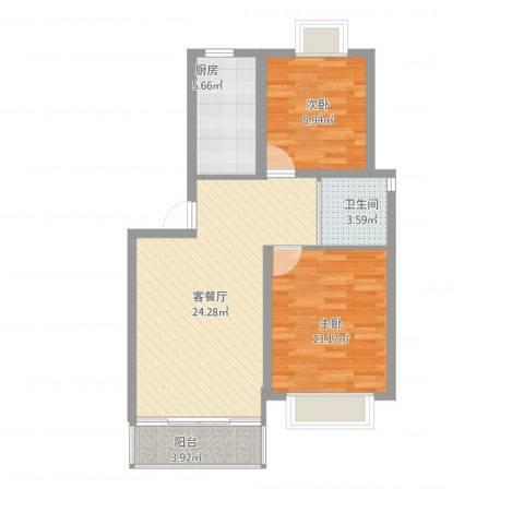 嘉骏香山苑2室1厅1卫1厨68.08㎡户型图